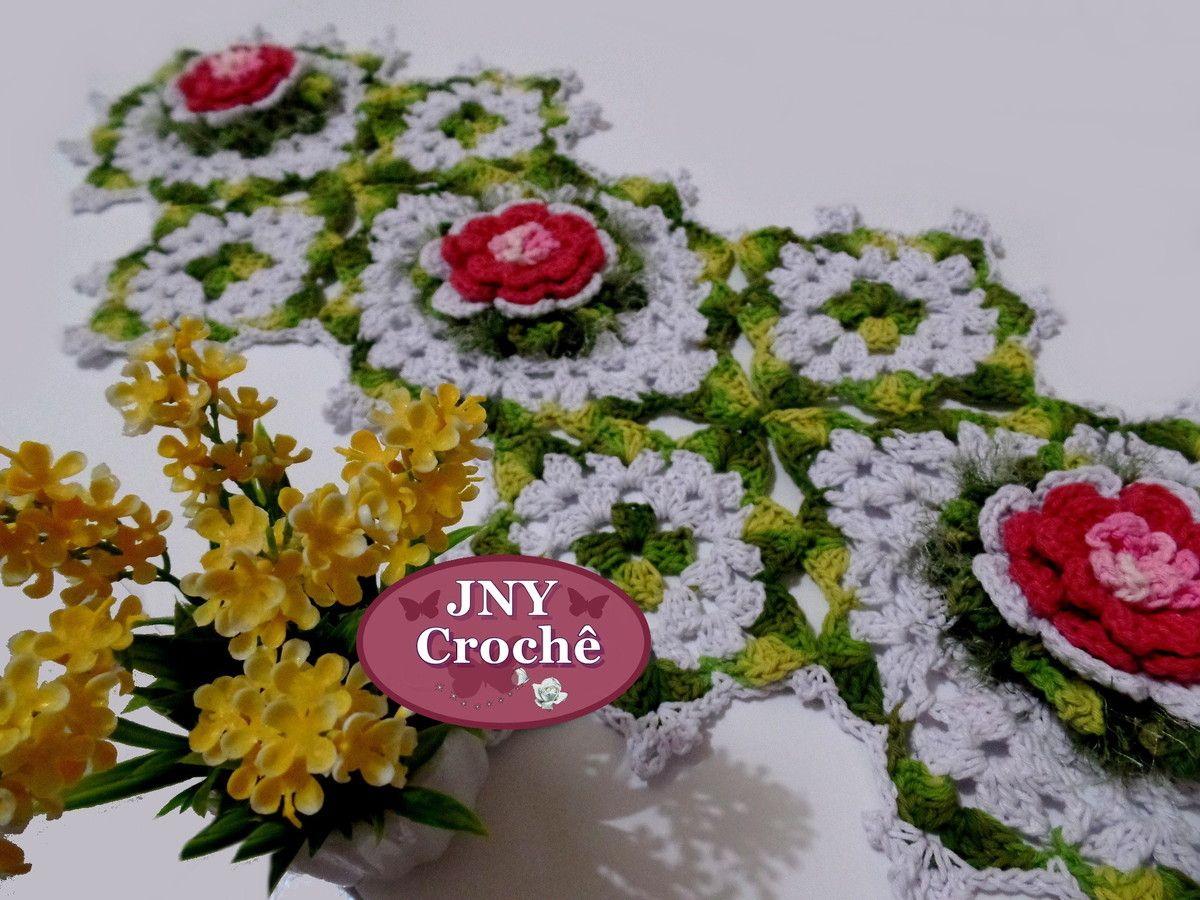 Lory Crochê: Caminho para mesa de Crochê Primavera Rosa por JNY...