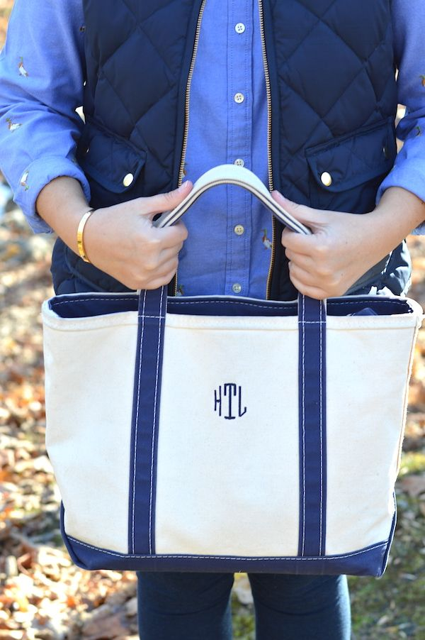 Embroidered critter shirt & monogrammed L.L. Bean tote -- PartialtoPink.com