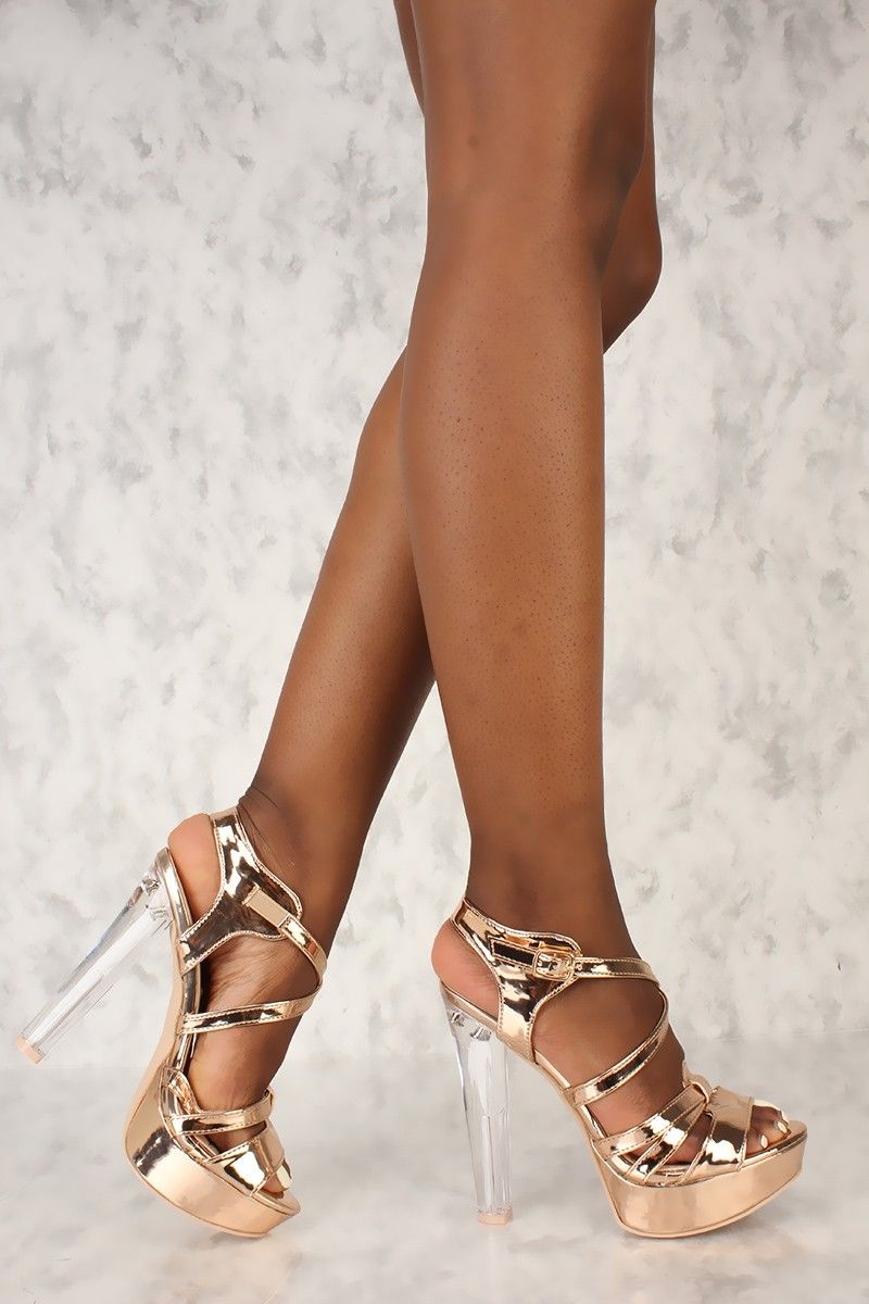 fd6aa664b4a Sexy Rose Gold Strappy Platform Open Toe Clear Chunky High Heel Booties  Patent