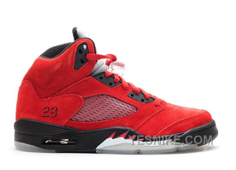 Free Shipping 6070 OFF Air Jordan 5 Retro Raging Bull Red Suede Varsity Red Black 136027601