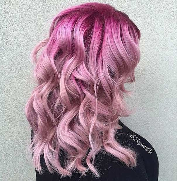 Fresh Pink Hair Color Shades With Dark Roots In 2019 Hair Color Pink Pink Hair Dye Pink Hair