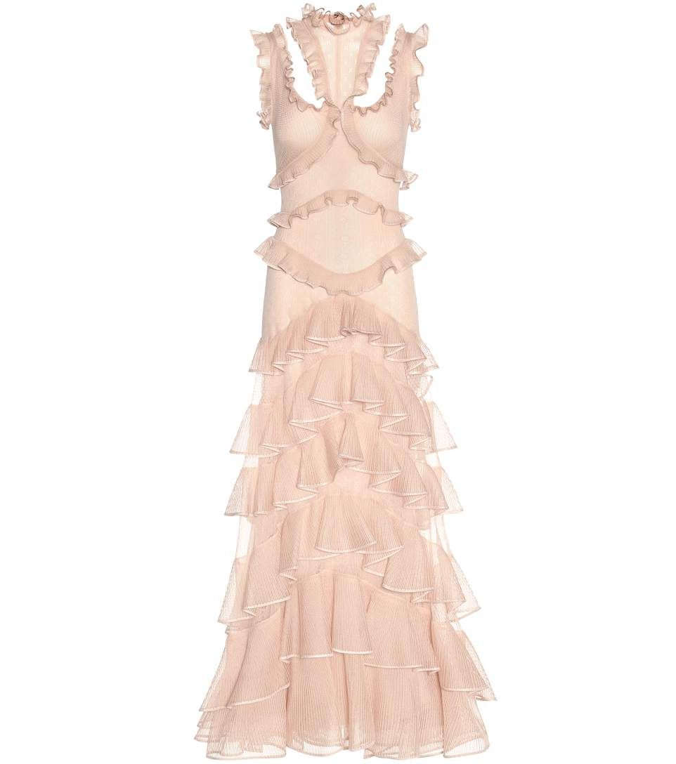 44f8f6c849aa mytheresa.com - Ruffled silk gown - Luxury Fashion for Women   Designer  clothing,