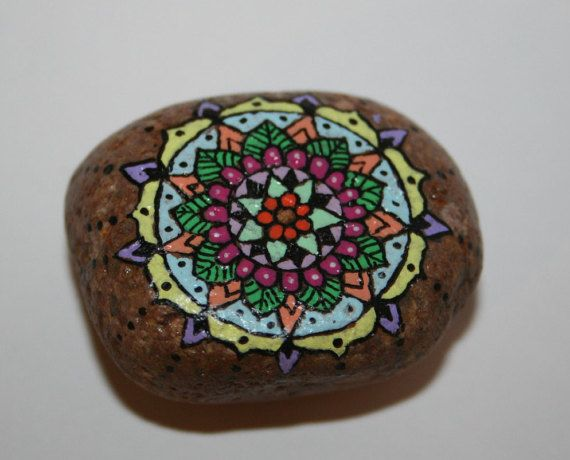 Hand Painted Stone Mandala Small Colorful by HiddenHorseRocks