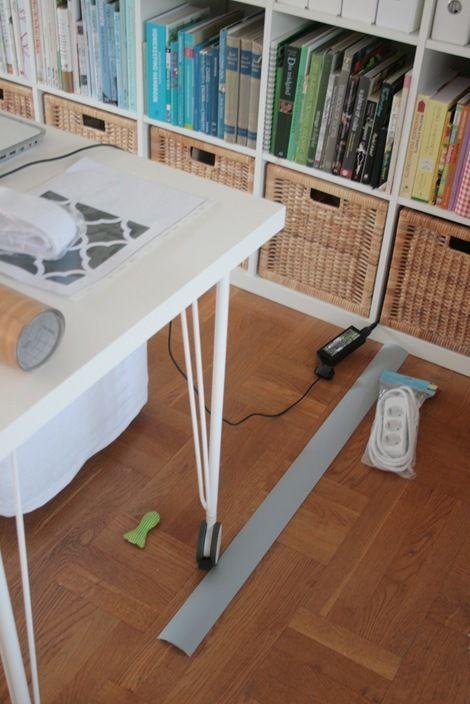 Chez Larsson Hiding The Desk Cables Desk Craft Room Office Hide Cables