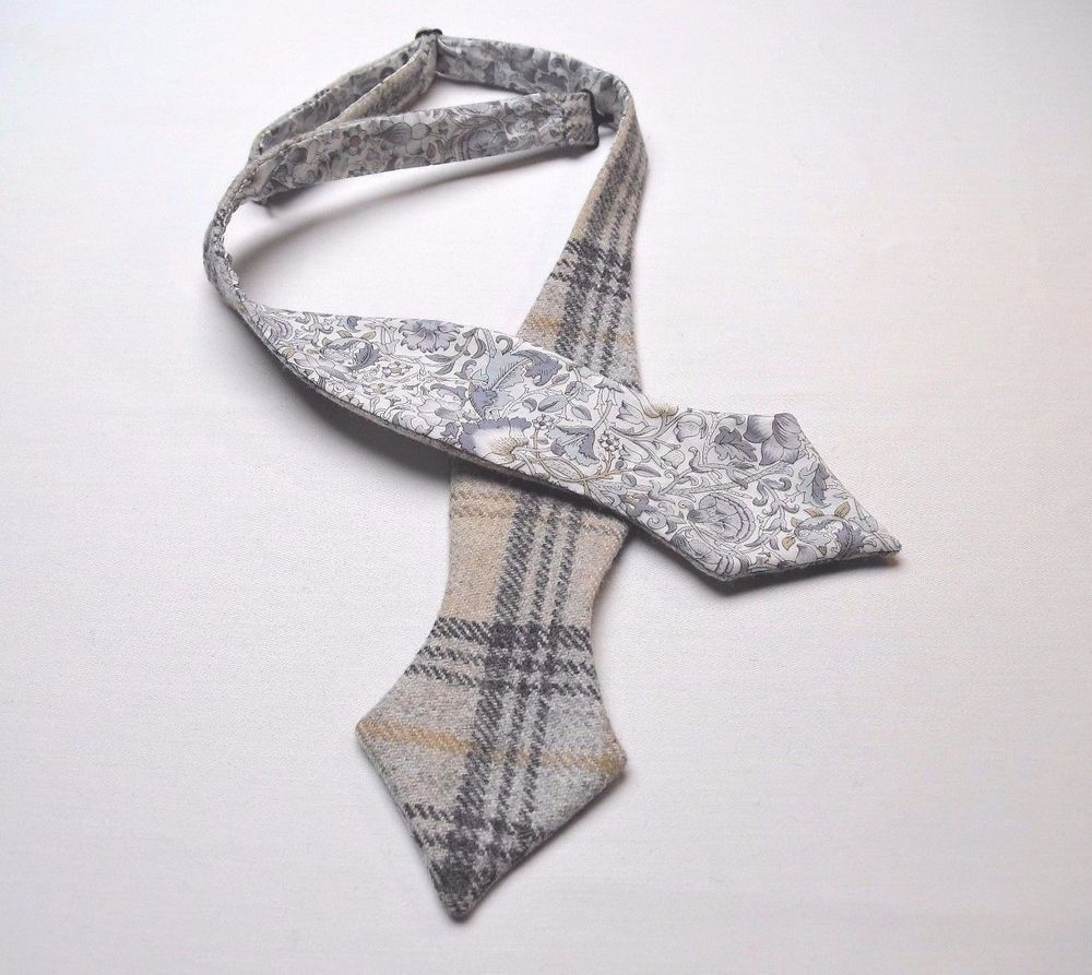 20c2ddc72d38 Scottish Wool tweed Check Self tie Bow tie/Liberty print lining ...