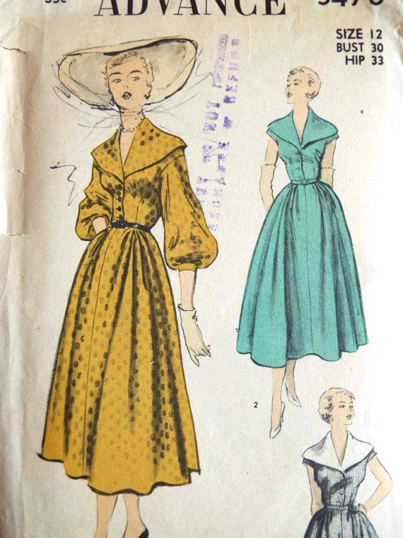 Vintage 1950s Advance Sewing Pattern 5470 A rare pattern and a nice find The pattern is plain pieces still in factory folds Envelope has some wear