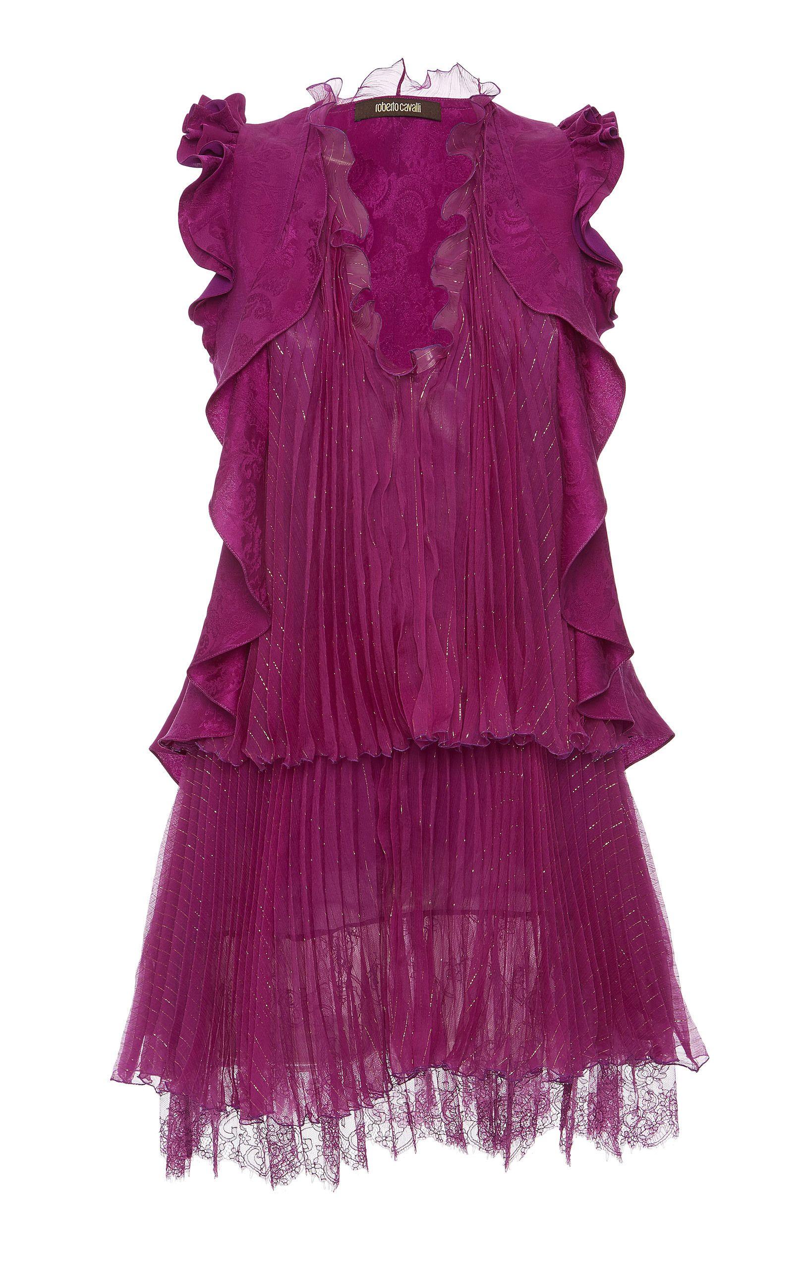 Ruffled Sleeveless Day Dress by ROBERTO CAVALLI Now Available on Moda Operandi