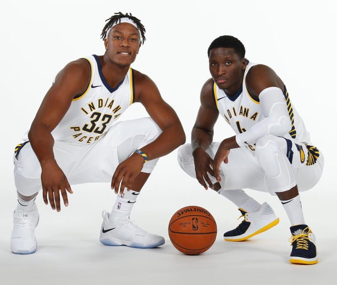 Victor Oladipo Brings Out Air Jordan 32 Low PE In Pacers Colorway For Media  Day f1138a1b1e1e