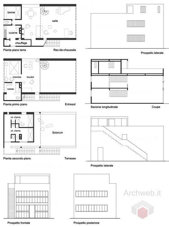 Maison Citrohan 1920 Le Corbusier Archweb 2d Diagrams