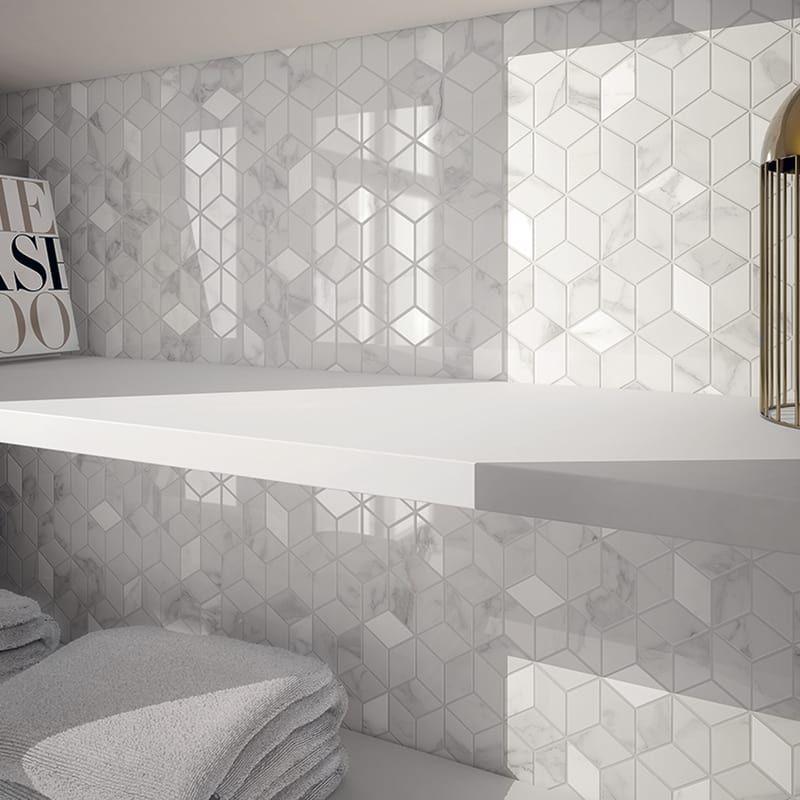 Piastrella Per Rivestimenti Murano 26 X 28 Cm Sp 8 Mm Bianco