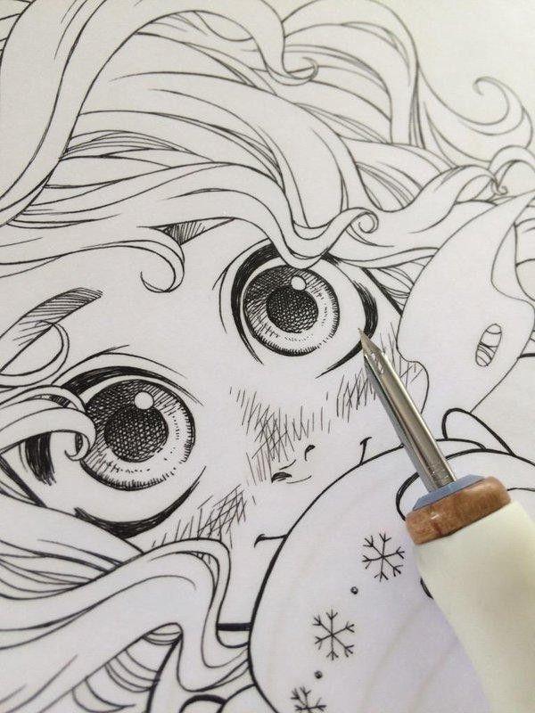 dessin manga a la plume