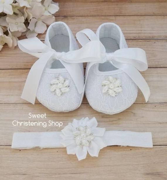 bb1f8a9f52d28 Christening Shoes, WHITE Lace Baby Girl Shoes, Lace Baby Shoes with ...