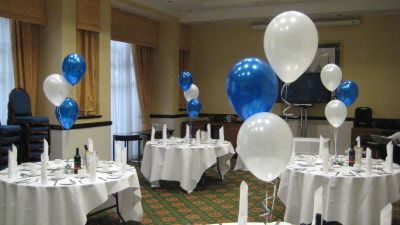 Black And Silver Table Centerpieces Balloon Tablecentre Royal Blue White