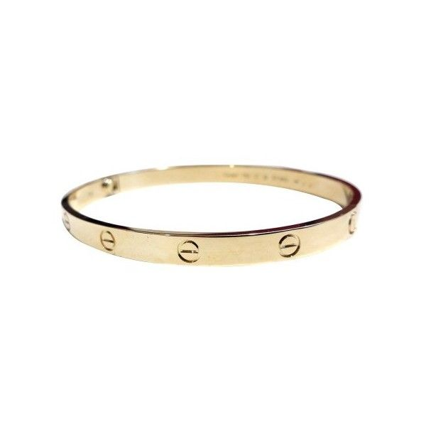 Pre-owned Cartier 18K Yellow Gold Love Bracelet Size 21 (7,490 CAD) ❤ liked on Polyvore featuring jewelry, bracelets, gold jewellery, yellow gold jewelry, 18k gold jewelry, gold bangles and 18k jewelry
