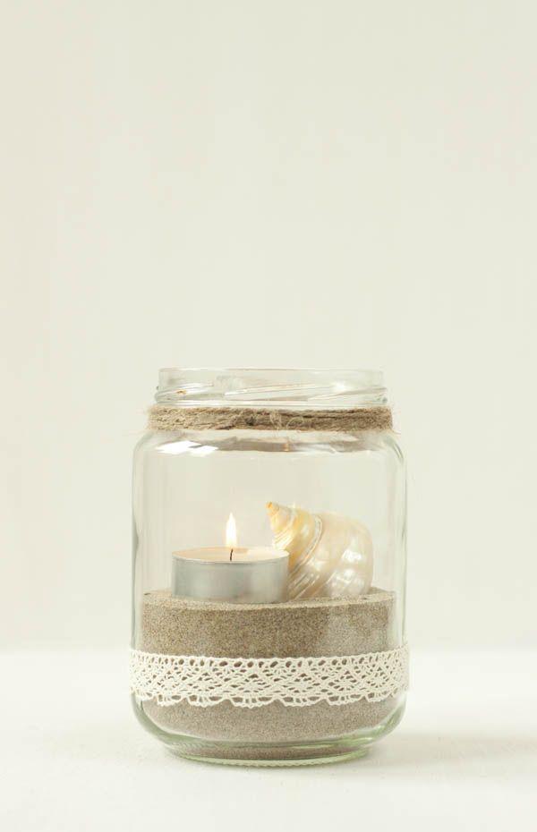 Teelicht mit spitze und sand deko wirtschaft pinterest for Teelicht deko