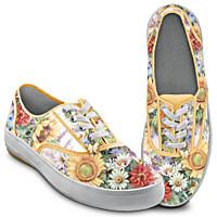 Lena Liu Sunflower Splendor Canvas Sneakers In 2020 Canvas Shoes Women Canvas Shoes Floral Sneakers