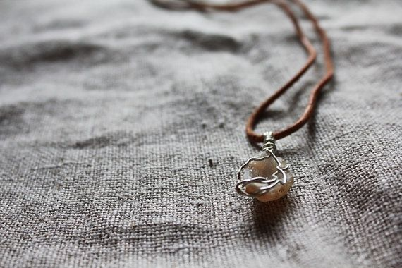 White Agate Geod Necklace for your heart chakra.