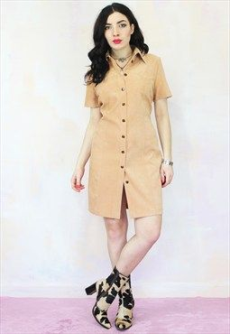 Vintage 90s Faux Suede Tan Mini Shirt Dress