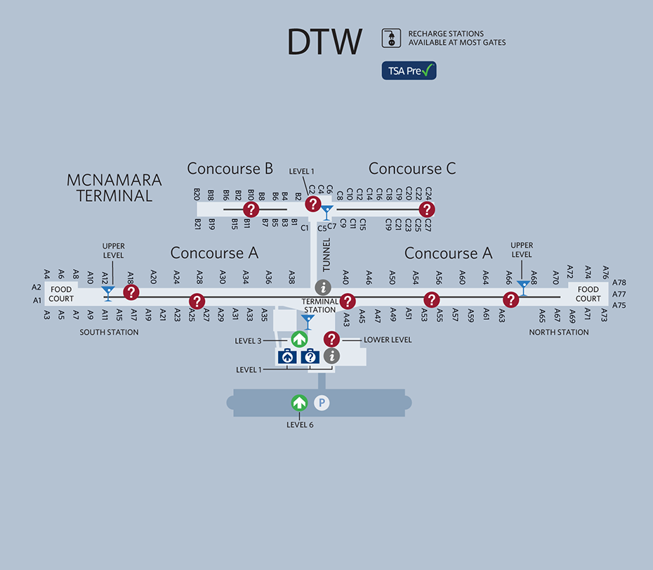 Detroit Airport Map  To See The World  Pinterest