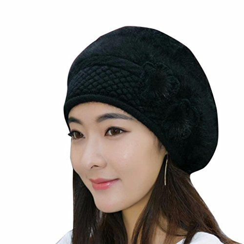 3aef0804e72 Gallity Womens Fashion Flower Knitting Wool Crochet Beanie Hat Winter Warm  Beret Cap D     Find out more about the great product at the image link.