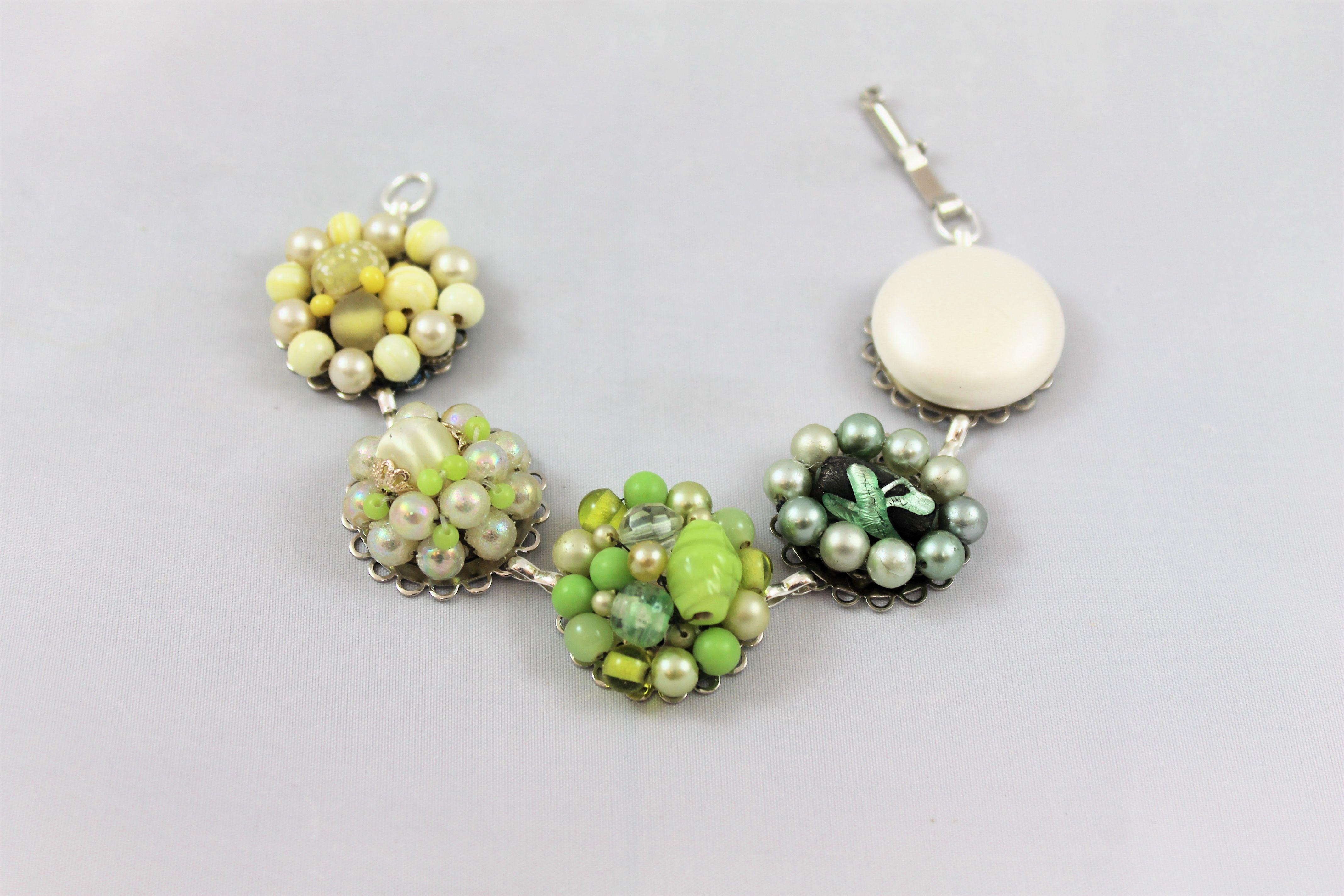 Vintage bead cluster earring bracelet