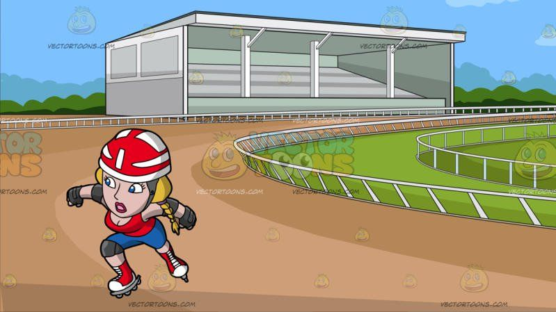A Surprised Female Roller Skater At Horse Racing Track Cartoon Clipart