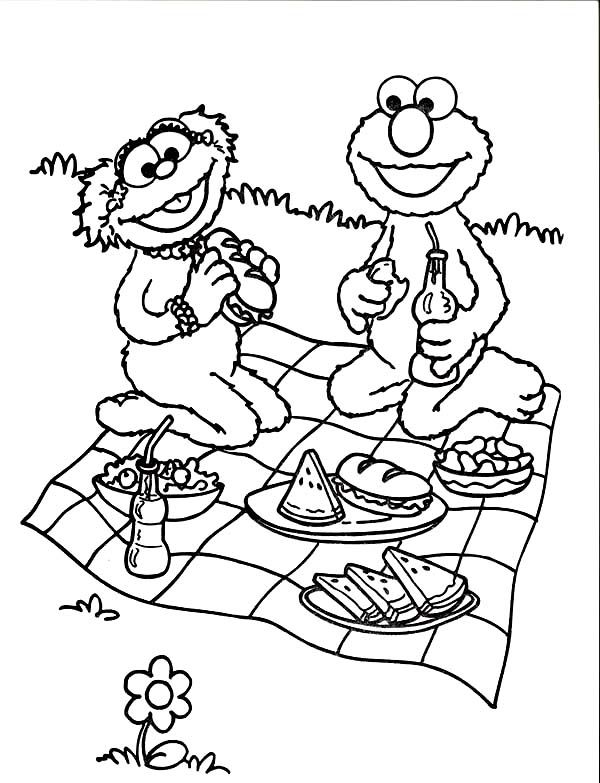 Relaxing and Eating in Picnic Coloring Page | Happy National Picnics ...