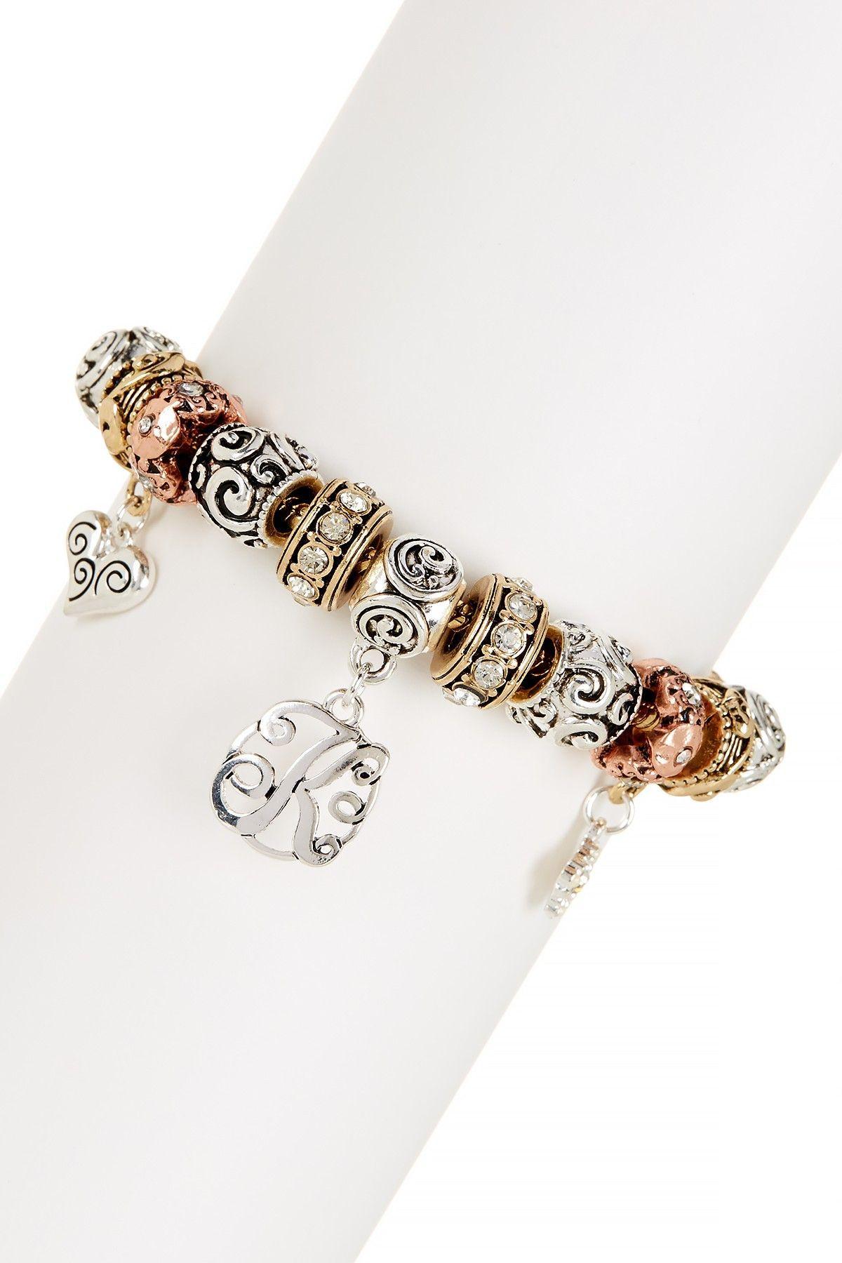 Monogram Initial Bead Bracelet - Letters K-T Available