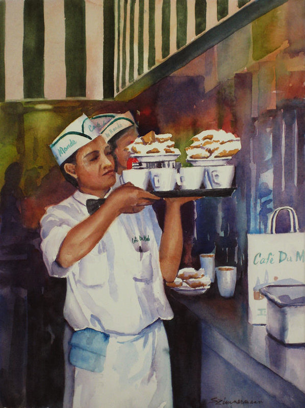 Cafe Du Monde Art Print featuring the painting Cafe Du Monde by Sue Zimmermann