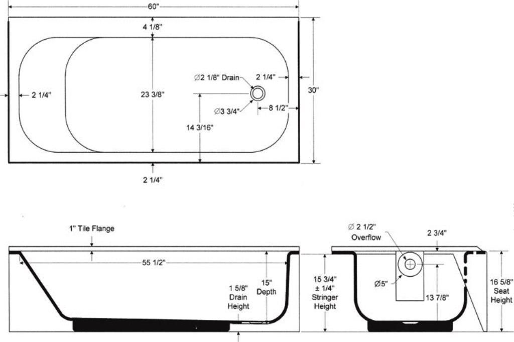 Standard bath tub dimensions tips for Bathroom size