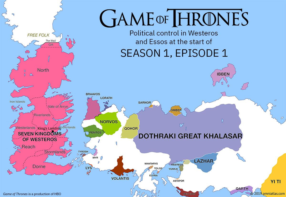 Political Control In Westeros And Essos At The Start Of