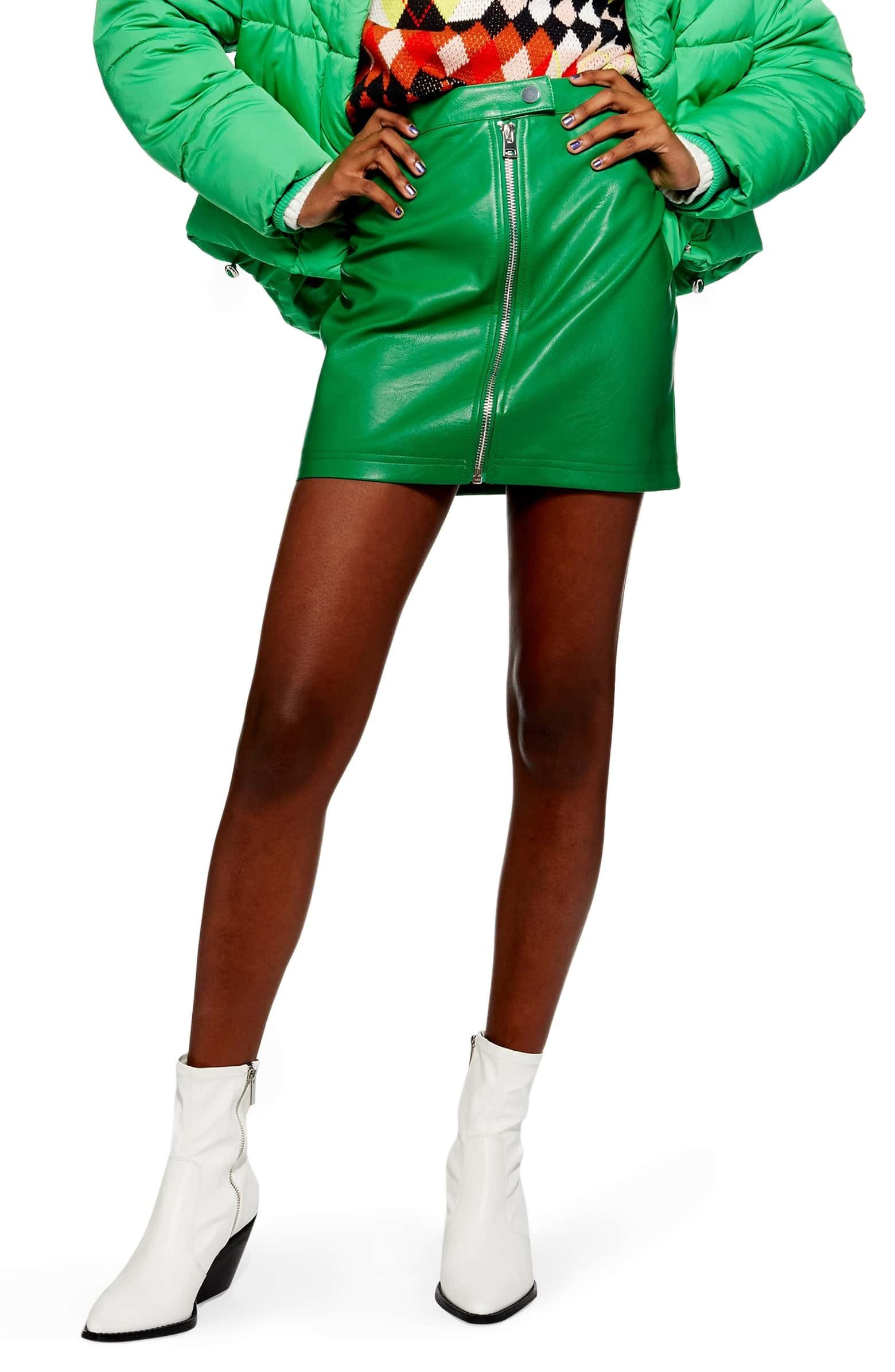 c39e76199401 Penelope Faux Leather Miniskirt, Main, color, GREEN | Wear | Leather ...