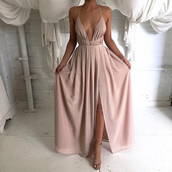 Silk Satin Deep V Neck Long Maxi Dress