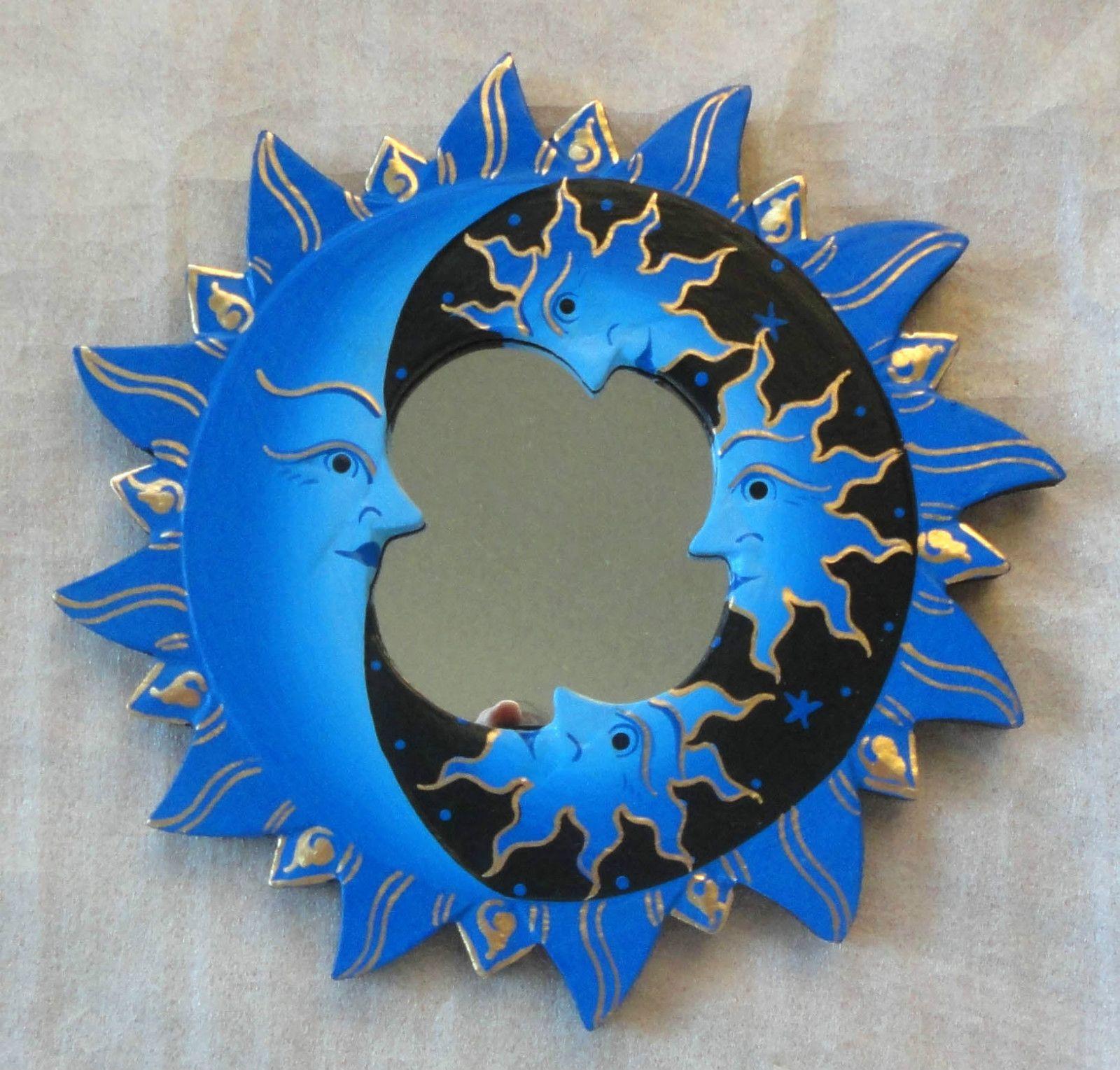 Blue black wall mirror feng shui decor painted wood celestial moon