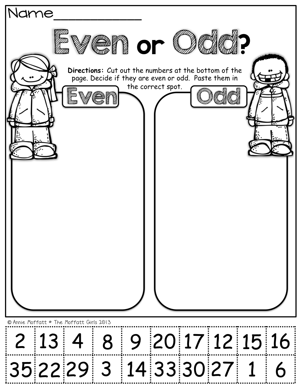 Worksheets Odd Even Worksheet even or odd cut and paste math pinterest school paste