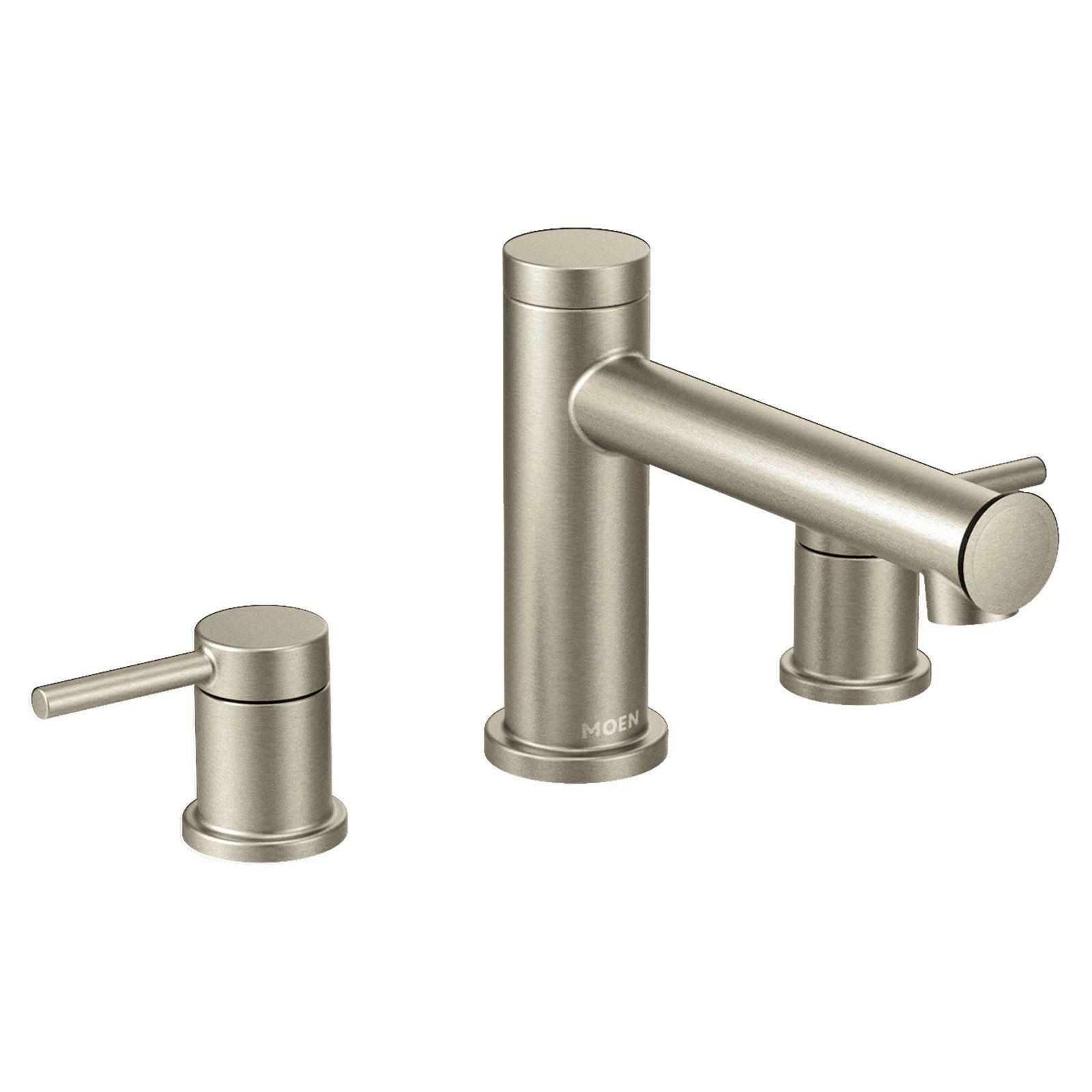 Moen Align Brushed Nickel Two Handle Non Diverter Roman Tub Faucet Roman Tub Faucets Tub Faucet Roman Tub
