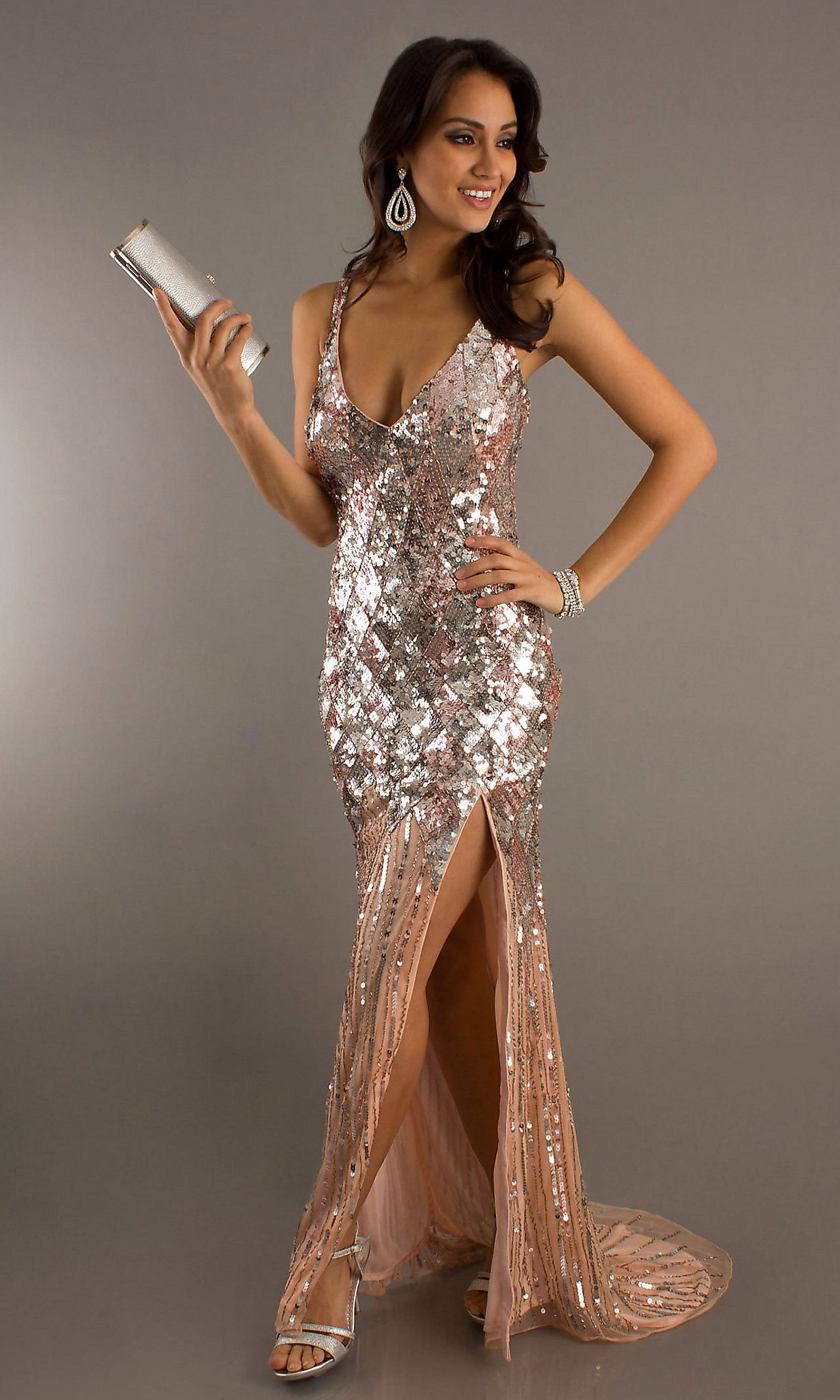 Long V Neck Sequin Formal Dress By Primavera Sequins Prom And Gowns