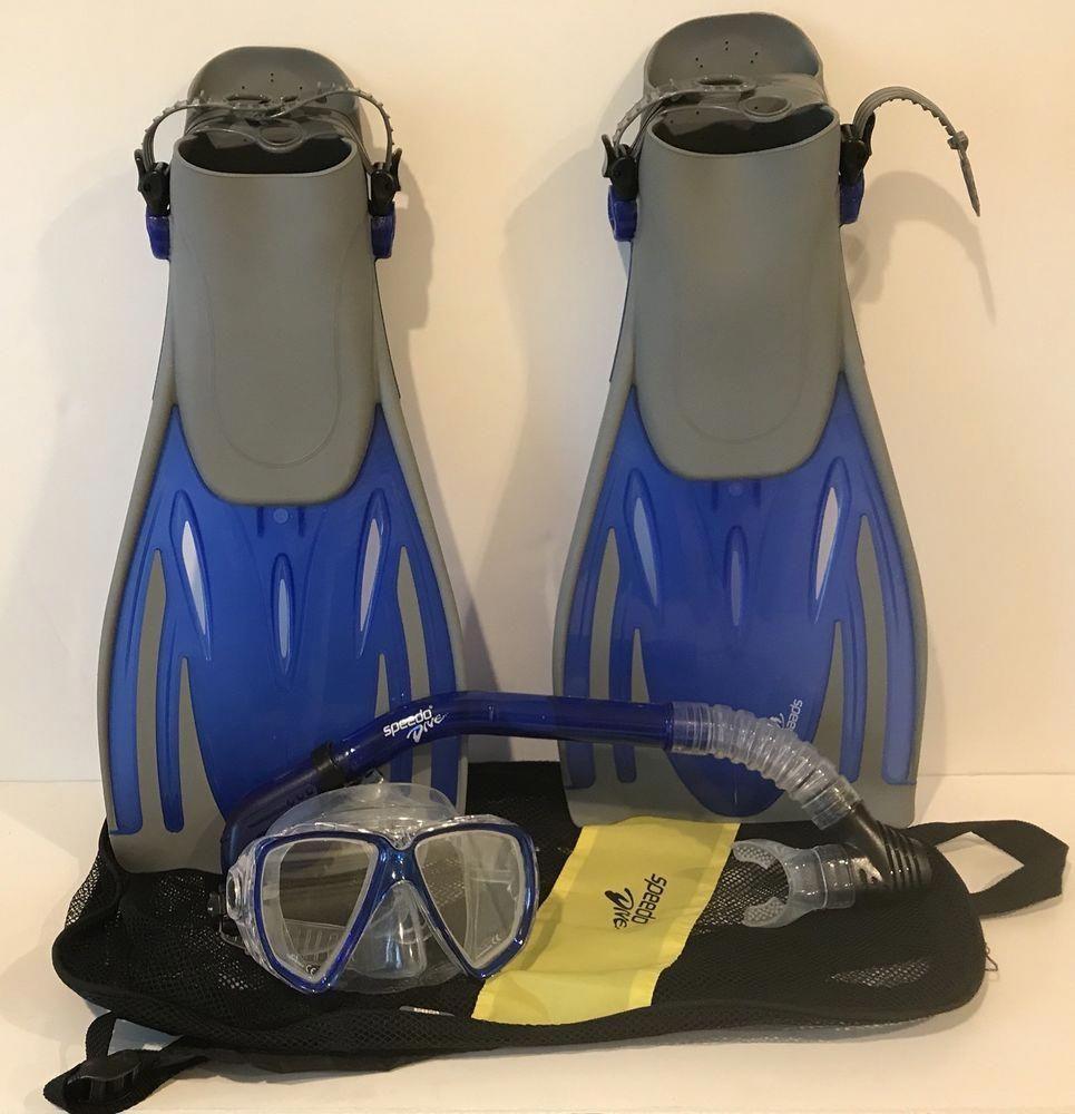 Speedo Dive Set Mask Snorkel Fins And Bag Mens Size 9-13 ...