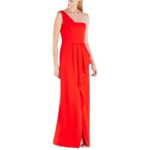 Pre-owned Bcbgmaxazria Red Kristine One With Cascade Peplum & High... ($145) ❤ liked on Polyvore featuring dresses, red, red peplum dress, peplum dress, peplum cocktail dress, red dress and red cocktail dress