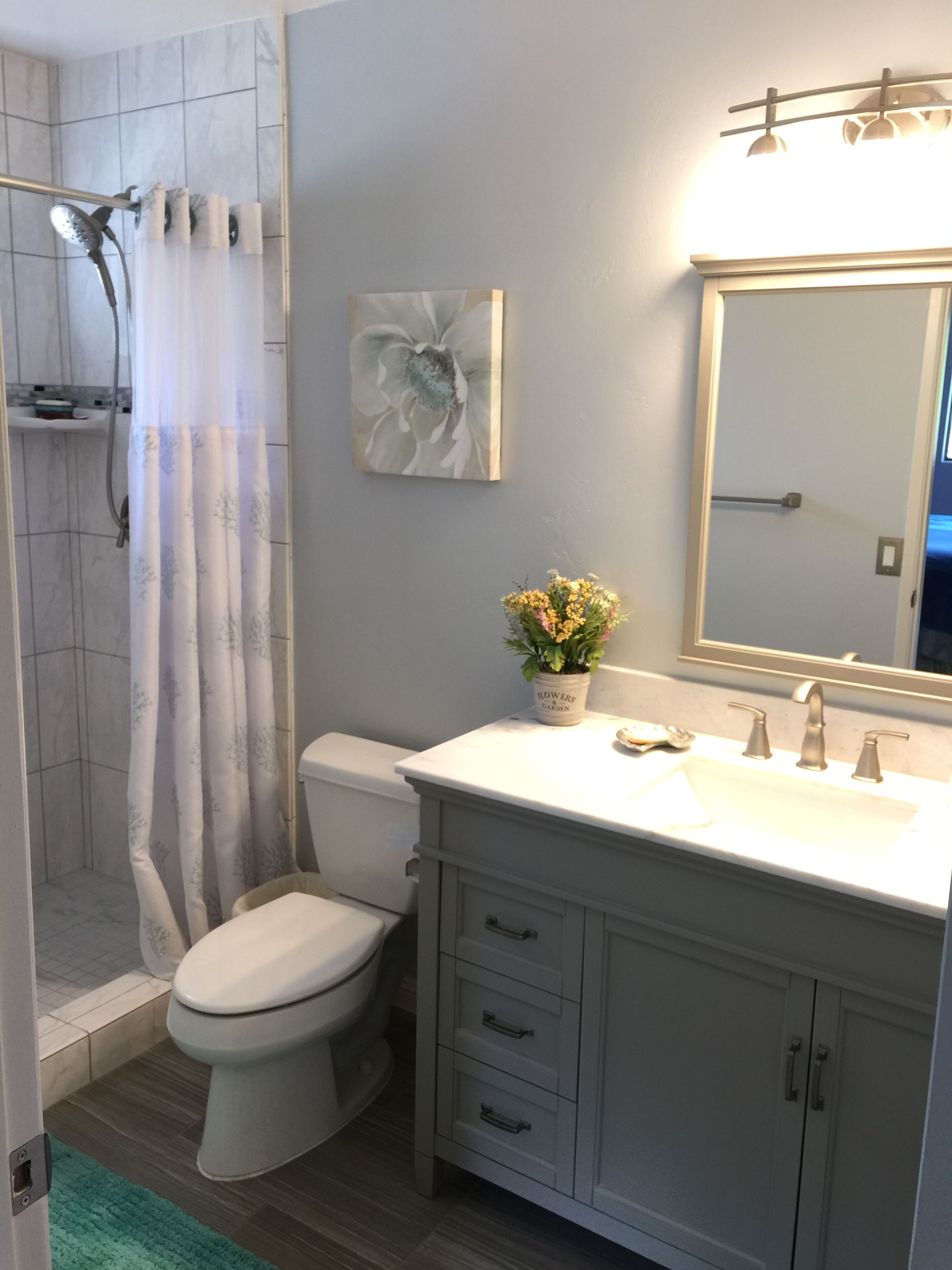 Finished master bathroom remodel. Walls done in Behr ...