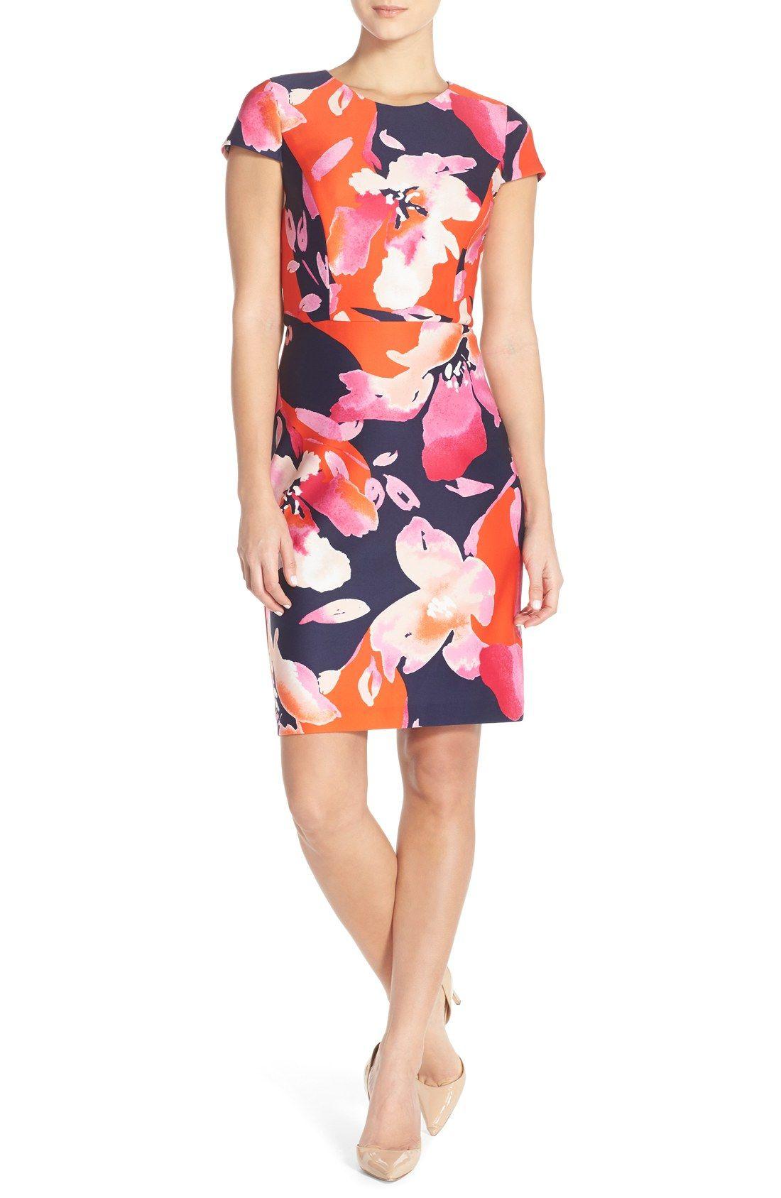 8da4f12c6d Vince Camuto Floral Scuba Sheath Dress