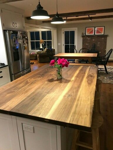 Black Walnut Kitchen Island With Natural Zero Voc 100 Tung Oil Finish Handcrafted By Northeas Wood Slab Countertop Building Kitchen Cabinets Walnut Kitchen