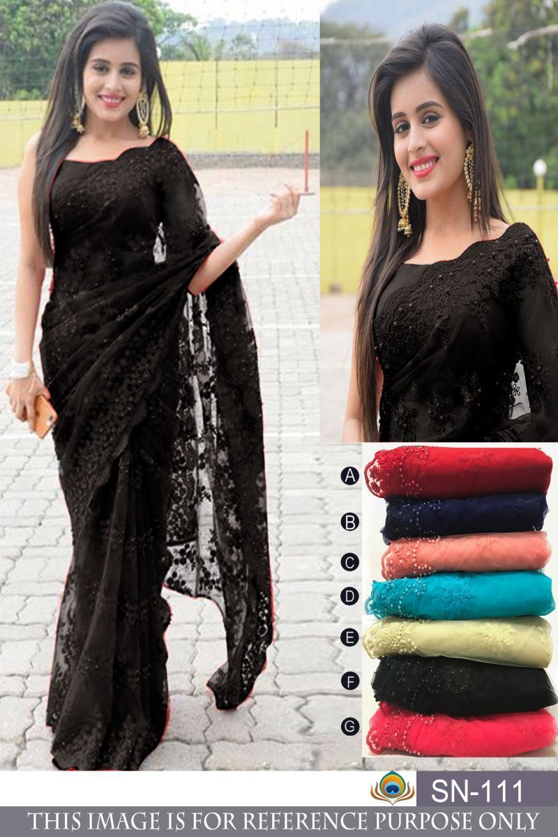 19dad016ba Buy Black Color Nylon Mono Net Saree | Zinnga #buysareesonline #sarees  #sari #sareescollection #looking #design #offers #tendydesign  #trendingdesign