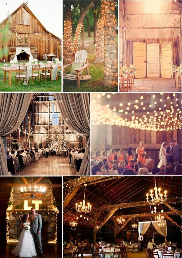 fairy lights, old barns, chandeliers, wooden doors... the makings of a great wedding.
