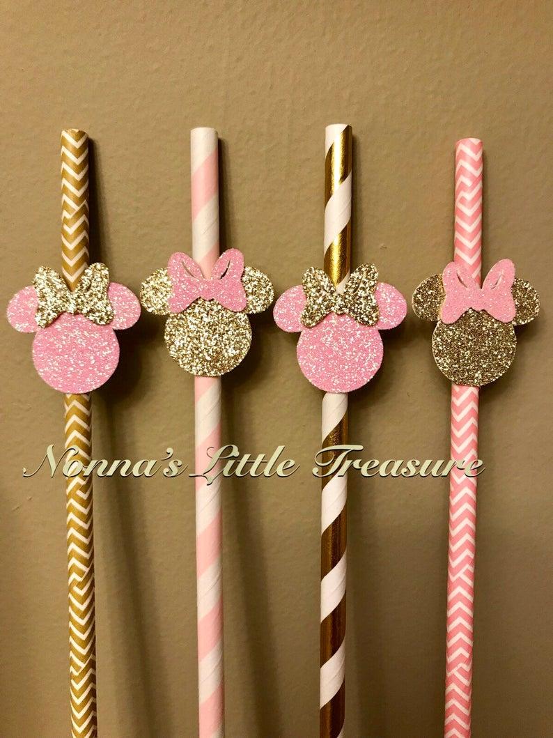 Minnie Mouse Straws First Birthday Second Birthday Party Decorations Photo Prop Minnie Straws