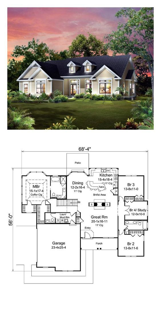 Traditional Style House Plan 95900 With 4 Bed 3 Bath 2 Car Garage House Exterior House Floor Plans Ranch House Plans