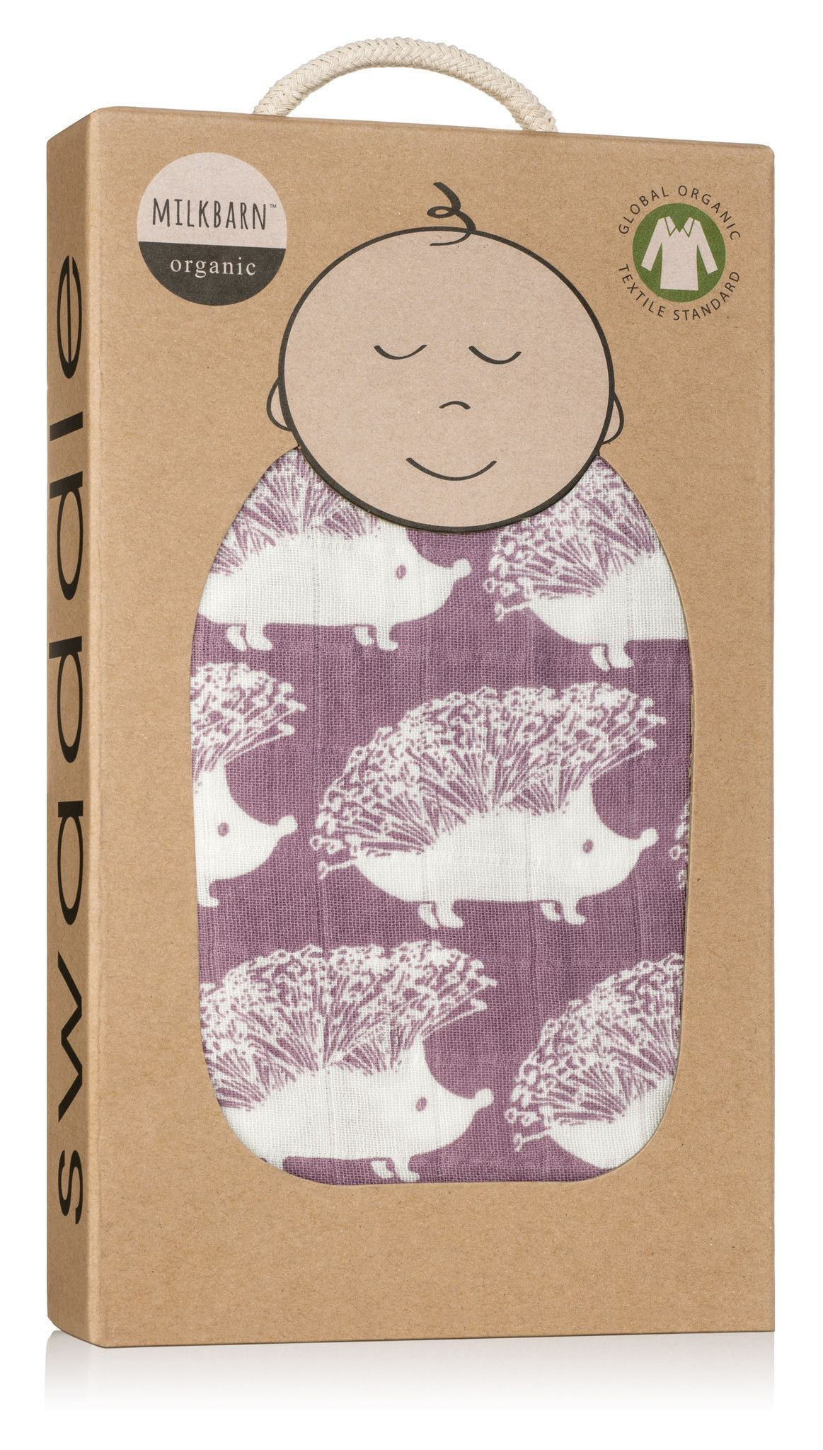 "Milkbarn Baby Organic Muslin Swaddle Blanket /""Lavender Hedgehog/"""