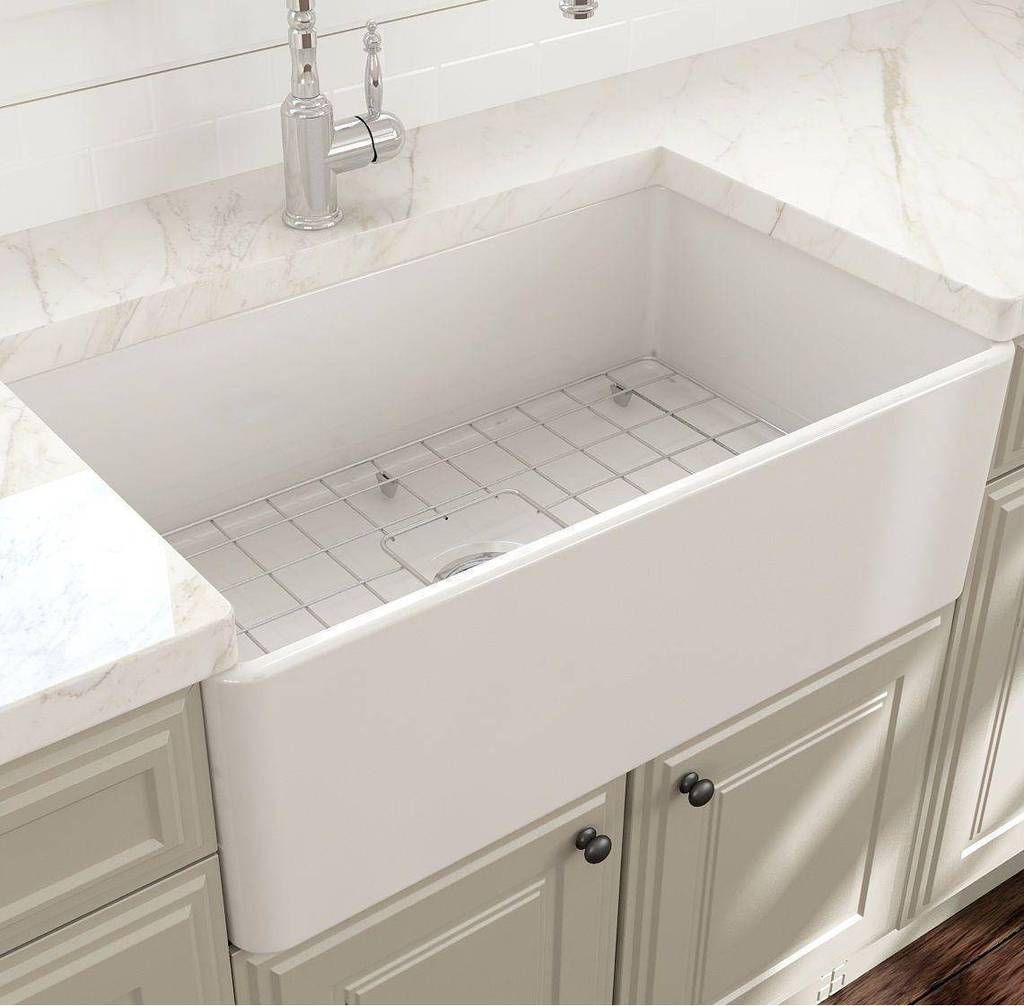 Bocchi Classico 30 White Single Bowl Fireclay Farmhouse Sink With Free Grid Farmhouse Sink Faucet Farmhouse Sink Kitchen White Farmhouse Sink