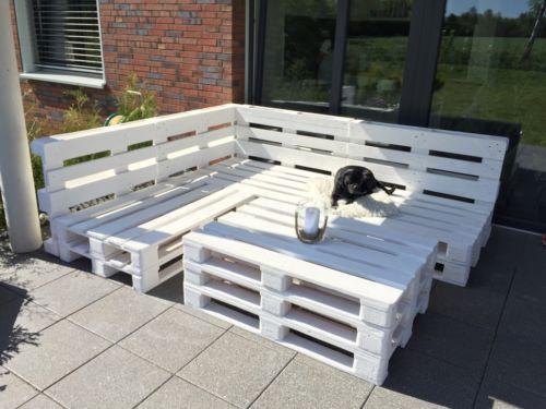 Sitzecke Lounge Gartenmöbel Aus Europaletten In Weiß