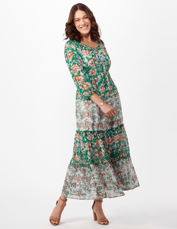 Veronica Mixed Print Peasant Dress Mixed Print Dress Dresses Peasant Dress [ 1500 x 1154 Pixel ]
